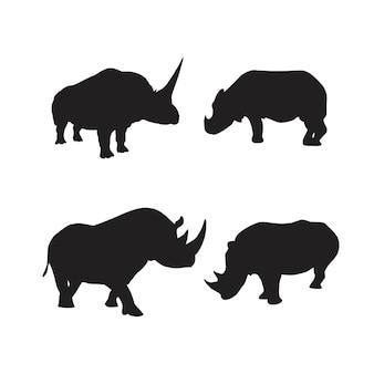 Collezione di sagome di animali di rinoceronte