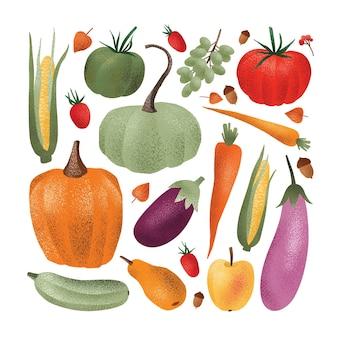 Raccolta delle verdure raccolte fresche mature, frutta, bacche, ghiande isolate su fondo bianco. fascio di raccolti stagionali raccolti, cibo vegetariano sano. illustrazione vettoriale in stile moderno.