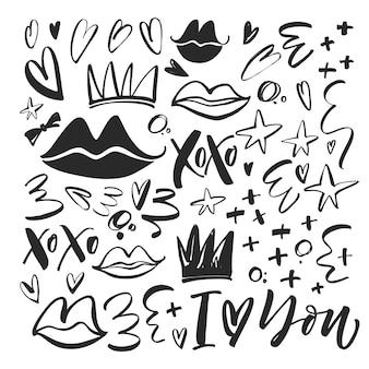 Raccolta di elementi romantici labbra, xoxo, riccioli, cuori, corona, croce e altri.