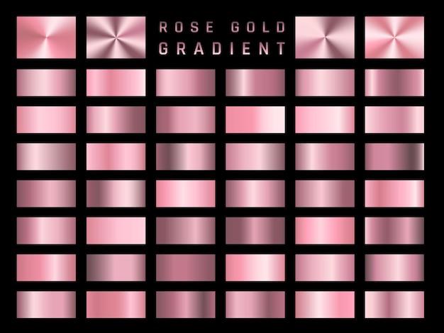 Collezione di sfumature metalliche oro rosa. piatti brillanti con effetto dorato.