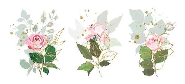 Collezione di rose con foglie