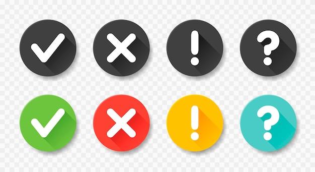 Raccolta pulsanti rotondi con segno fatto, errore, punto interrogativo, punto esclamativo. illustrazioni. imposta badge neri e colorati per il sito web e le app mobili isolati su bianco.