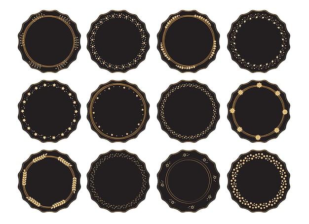 Collezione di bordi decorativi rotondi in nero con ornamenti dorati modelli vintage