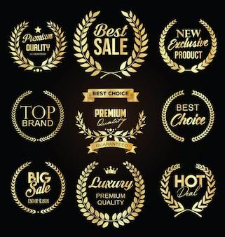 Raccolta di vendita etichetta dorata con alloro