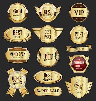 Collezione di vendita e emblema d'oro scelta premium