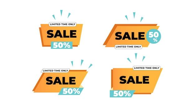 Collezione di set di adesivi in vendita o etichette con colore giallo vivace