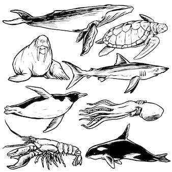 Collezione di creature marine line art stile disegnato a mano