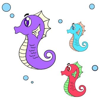 Una collezione di cavallucci marini che nuotano. adesivo carino illustrazione dei cartoni animati