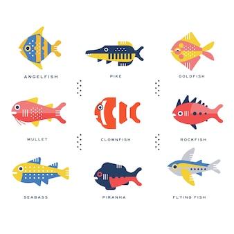 Raccolta di pesci di mare e oceano e nome dell'iscrizione nelle illustrazioni inglesi