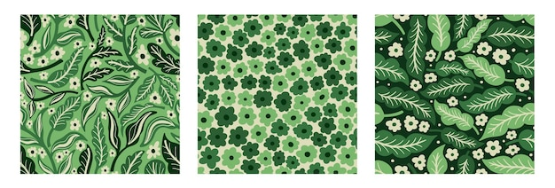 Collezione seamles pattern flower and plantstampa disegnata a mano di tessiledesign floreale vintage