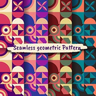 Raccolta di motivi geometrici senza soluzione di continuità, sfondo geometrico colorato vettoriale.