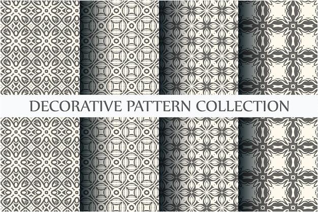 Raccolta di motivi ornamentali senza soluzione di continuità con il minimo colore bianco e nero