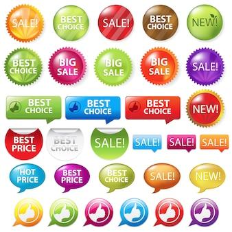 Collezione di distintivi di vendita, su sfondo bianco, illustrazione