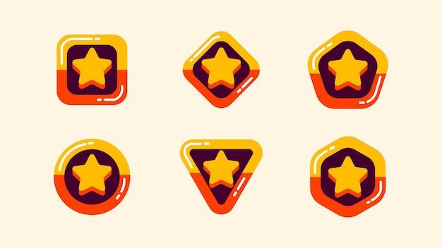 Collezione o set di badge con stella, prodotto consigliato, best seller o etichetta top choice