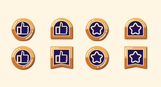 Collezione o set di badge con icona a forma di stella e pollice in alto
