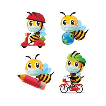 Set di raccolta di api dei cartoni animati che indossano una maschera facciale con diverse pose