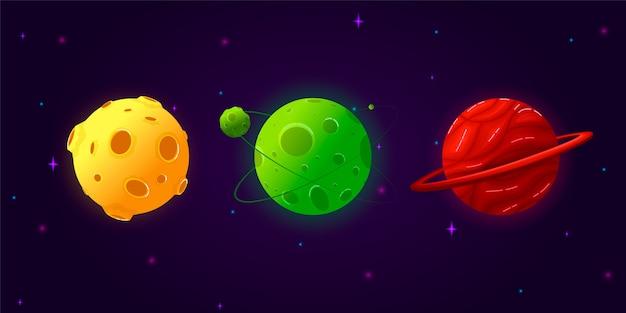 Collezione set pianeti dei cartoni animati. insieme variopinto di oggetti isolati. pianeti fantasy.