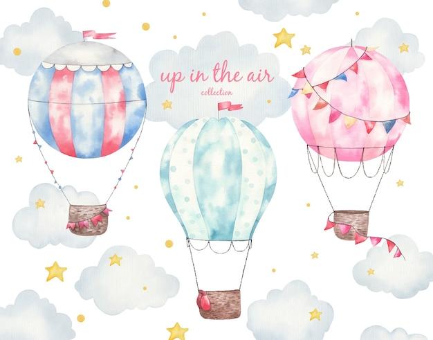 Insieme della raccolta di palloncini colorati, illustrazione dell'acquerello dei bambini, arredamento della camera dei bambini, stampa