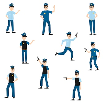 Insieme della raccolta del poliziotto americano sveglio del fumetto al lavoro in varie pose che indossa pantaloni blu scuro e camicia azzurra.