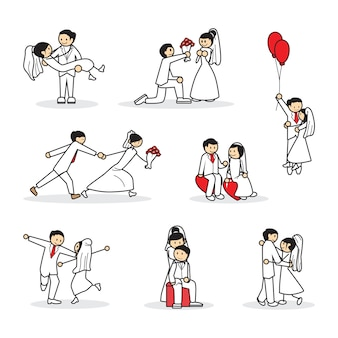Insieme di raccolta di sposi carino