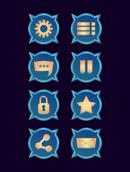 Insieme della raccolta dell'icona lucida di fantasia per l'interfaccia utente del gioco