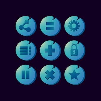 Insieme della raccolta dell'icona di fantasia per l'interfaccia utente del gioco