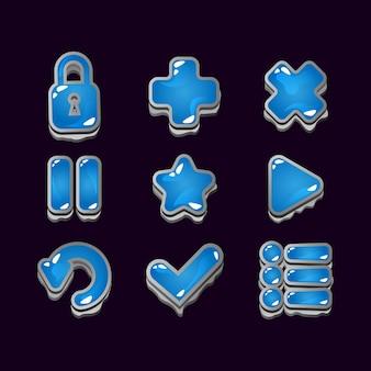 Insieme della raccolta dei segni dell'icona della gelatina della roccia dell'interfaccia utente del gioco per gli elementi dell'asset della gui