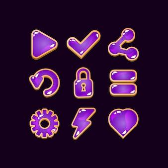 Insieme della raccolta dei segni dell'icona della gelatina di legno dell'interfaccia utente del gioco per gli elementi dell'asset della gui