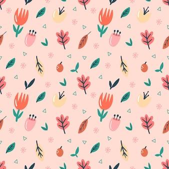 Set di raccolta di piante a foglia e fiori con motivo colorato