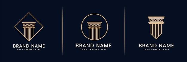 Raccolta o insieme di pilastri della giustizia logo per avvocati studio legale avvocati che costruiscono architetto
