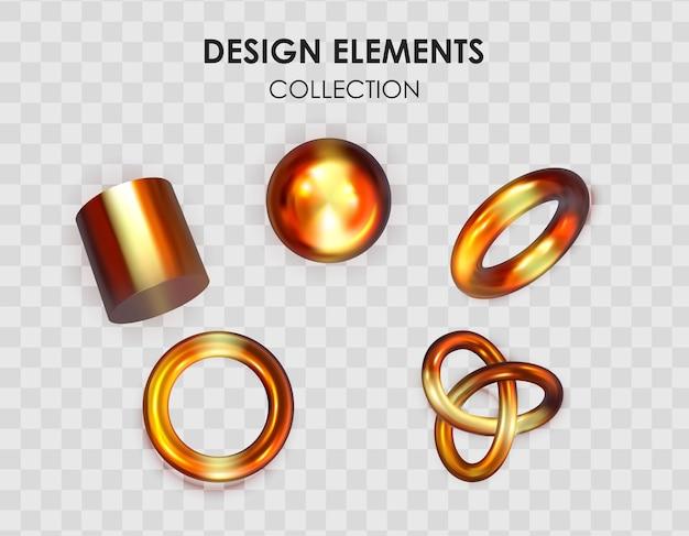 Insieme della raccolta di forme geometriche sfumate di colore metallico rendering 3d realistici