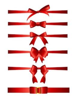 Insieme della raccolta degli archi rossi con il nastro orizzontale isolato su priorità bassa bianca.