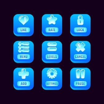 Insieme di raccolta di pulsanti quadrati di ghiaccio con icone di gelatina per elementi di asset dell'interfaccia utente di gioco