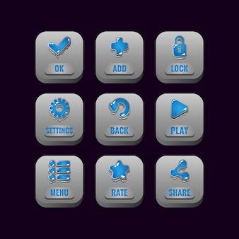 Insieme di raccolta di pulsanti di pietra quadrati con icone di gelatina per elementi di asset dell'interfaccia utente di gioco