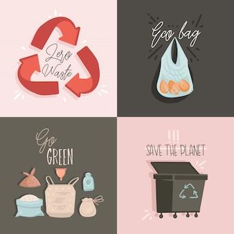 Raccolta impostata con zero waste e save planet illustrazioni e testo