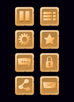 Insieme di raccolta di icone in legno per l'interfaccia utente del gioco