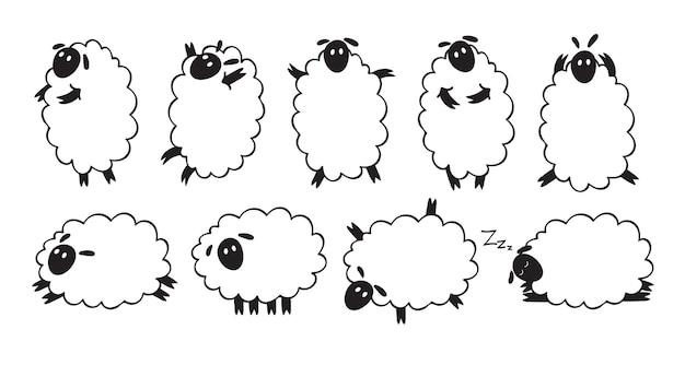 Raccolta di illustrazioni di pecore