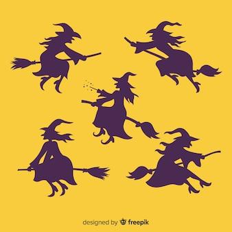 Collezione di streghe di halloween sagoma Vettore Premium