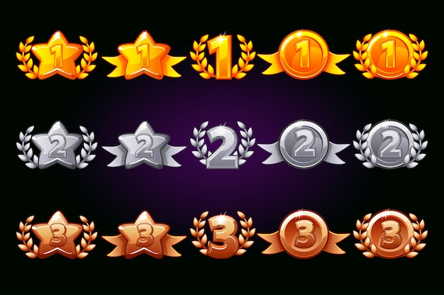 Collezione di icone di premi in argento e bronzo