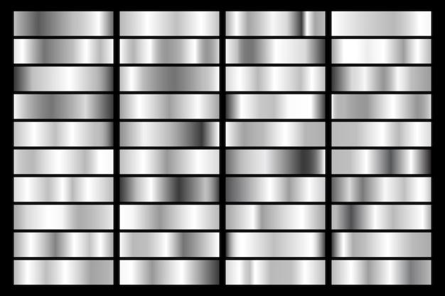 Collezione di argento, gradiente metallico cromato. piatti brillanti con effetto argento.