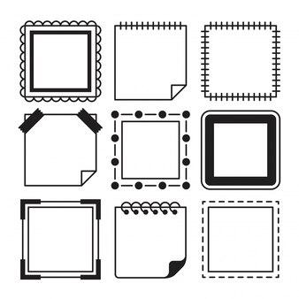 Collezione di semplice cornice quadrata e memo con diverse forme.