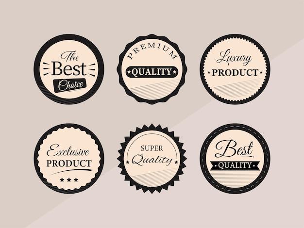 Raccolta di sei etichette vintage, tag o adesivi design per la pubblicità.