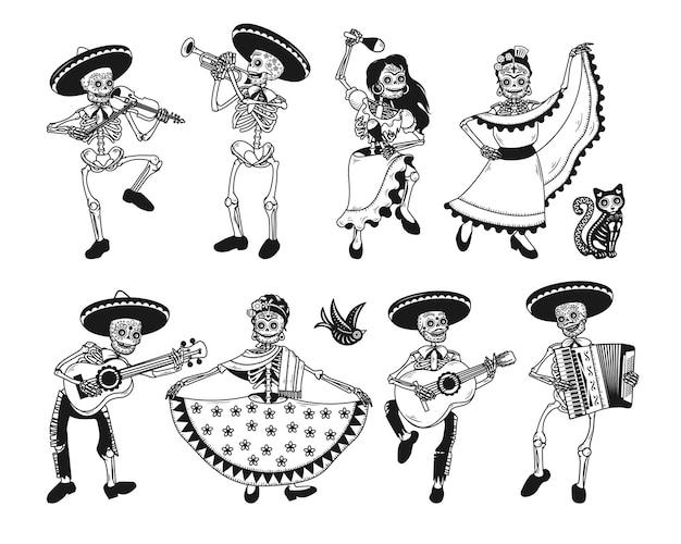 Raccolta di personaggi scheletro isolato su bianco