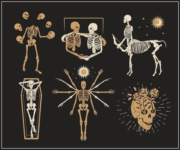 Collezione di loghi di scheletri per tshirt e denim giocoliere lo scheletro vitruviano