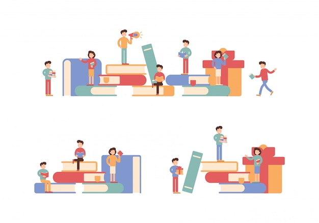 Raccolta di piccoli personaggi in possesso di libri e seduti su pile di grandi libri. vettore
