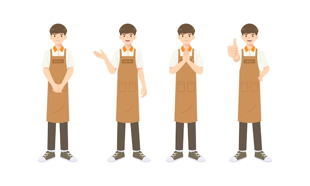 Collezione di cameriere intelligente o assistente in uniforme grembiule, personaggio mascotte dei cartoni animati in molte pose per illustrazione