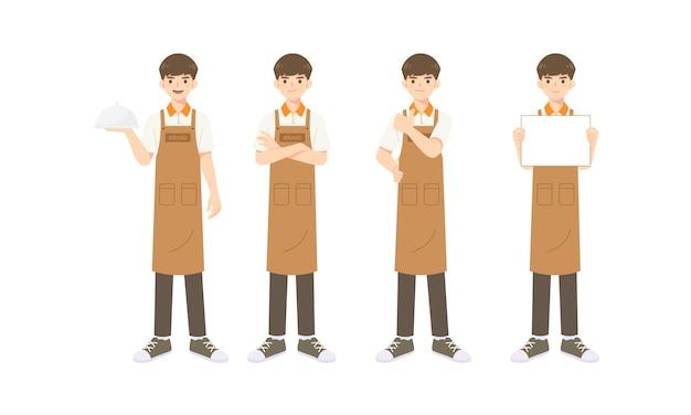 Raccolta di cameriere intelligente o assistente in uniforme di grembiule