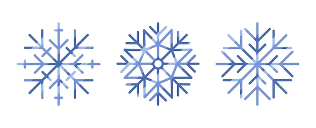Raccolta di fiocchi di neve isolati su sfondo bianco
