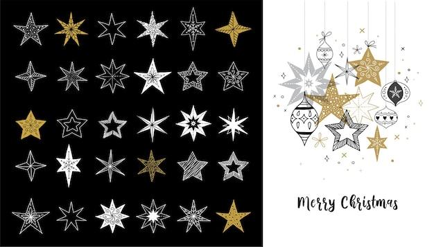 Raccolta di fiocchi di neve e stelle, biglietto di auguri di natale