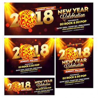Raccolta di banner per i media sociali per le celebrazioni del nuovo anno 2018.